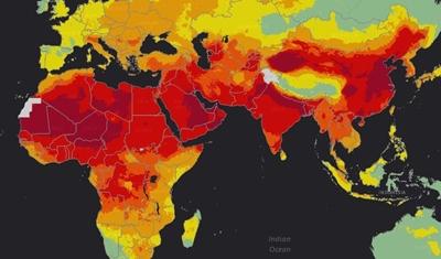 خريطة تبين الدول الأكثر تتضررا من تلوث الهواء (اللون الأحمر)