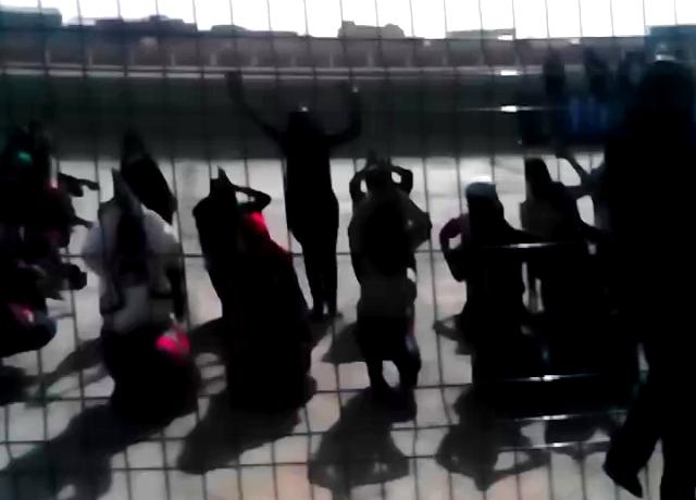 الراقصات خلال تدريب مغلق اليوم الخميس بالملعب البلدي